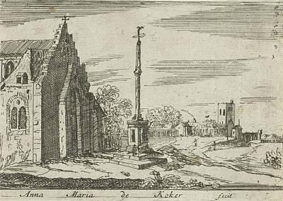 Church Pillars Drawing - Landscape With A Memorial Column, Anna Maria De Koker by Anna Maria De Koker