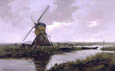 Landscape With A Mill Enhanced II Upsized Art Print by Johan Hendrik Weissenbruch - L Brown
