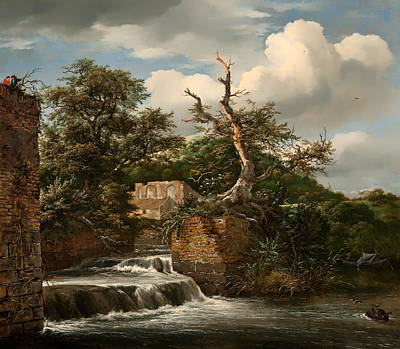 Beautiful Creek Painting - Landscape With A Millrun And Ruins by Mountain Dreams