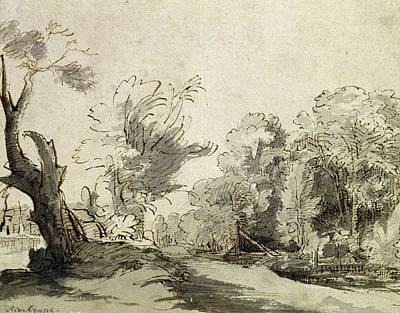 Landscape Drawing - Landscape With A Path, An Almost Dead Tree On The Left And A Footbridge Leading To A Farm by Rembrandt Harmensz van Rijn