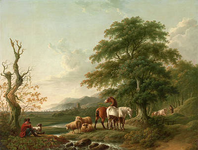 Cattle Dog Painting - Landscape With A Shepherd Horses,sheep And Cattle by Litz Collection