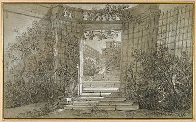 Fade Drawing - Landscape With A Staircase And A Balustrade Jean-baptiste by Litz Collection