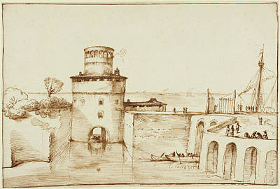 Giovanni Francesco Barbieri Drawing - Landscape With A View Of A Fortified Port Guercino Giovanni by Litz Collection