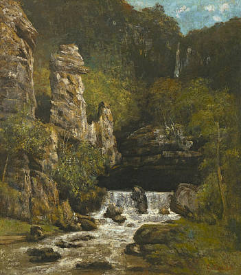 Waterfalls Painting - Landscape With A Waterfall, C.1865 by Gustave Courbet
