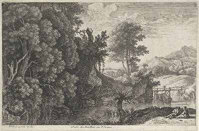 Landscape With A Wooden Bridge, Herman Van Swanevelt Art Print