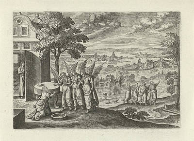 Landscape With Abraham And The Three Angels Art Print by Julius Goltzius And Hans Bol And J. Janssonius