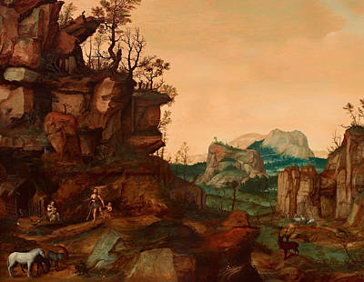 Christian Artwork Painting - Landscape With Adam And Eve by Mountain Dreams