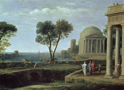 Landscape With Aeneas At Delos, 1672 Oil On Canvas Art Print by Claude Lorrain
