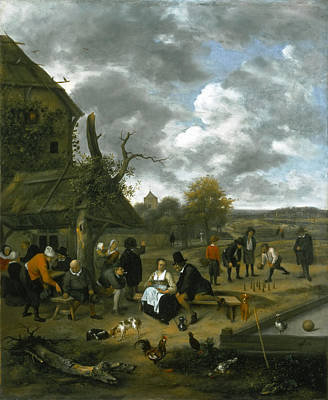Painting - Landscape With An Inn And Skittles by Jan Steen