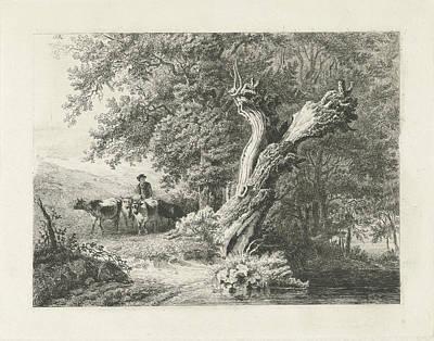 Landscape With Bare Tree And Shepherd, Constantinus Art Print