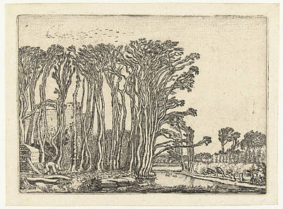 Landscape With Bare Trees At A Water Art Print
