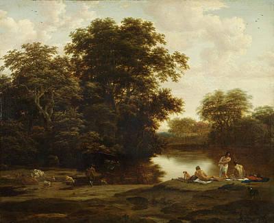 Joris Van Der Haagen Painting - Landscape With Bathers by Joris van der Haagen