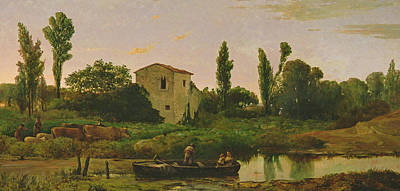 Landscape With River Painting - Landscape With Boat by Modesto Urgell y Inglada