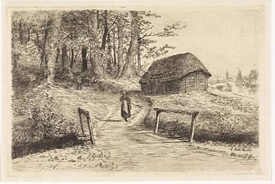 Old Barn Drawing - Landscape With Bridge And Barn, Elias Stark by Artokoloro