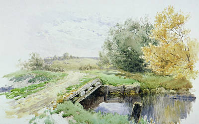Landscape With Bridge Over A Stream Print by John Clayton Adams