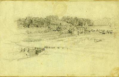 Famous Buildings Drawings Drawing - Landscape With Buildings, Drawing, 1862-1865 by Quint Lox