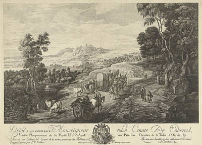 Landscape With Busy Country Road, Antoine Alexandre Joseph Art Print by Quint Lox