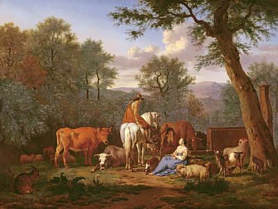 Landscape With Figure Painting - Landscape With Cattle And Figures by Adriaen van de Velde