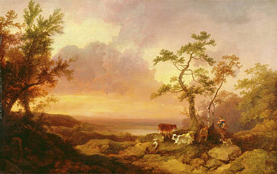 Cattle Dog Painting - Landscape With Cattle And Peasant Landscape With Cattle by Litz Collection