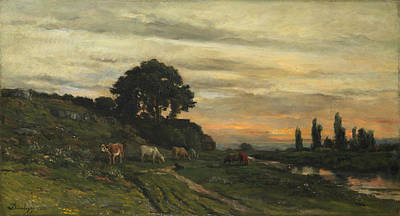 Painting - Landscape With Cattle By A Stream by Charles-Francois Daubigny