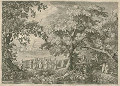 Landscape With Christ And The Disciples In The Cornfield Art Print by Jan Van Londerseel And David Vinckboons And Claes Jansz. Visscher Ii
