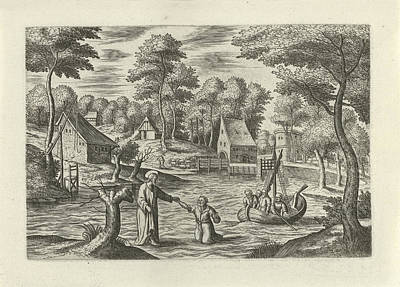 Landscape With Christ Walking On The Water Art Print by Julius Goltzius And Hans Bol And J. Janssonius