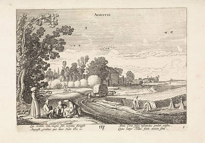 Virgo Drawing - Landscape With Corn Harvest August, Jan Van De Velde II by Jan Van De Velde (ii)
