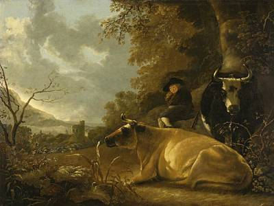 Landscape With Cows And A Shepherd Boy Print by Aelbert Cuyp