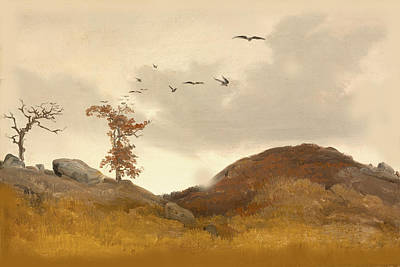Landscape With Crows Art Print by Karl Friedrich Lessing