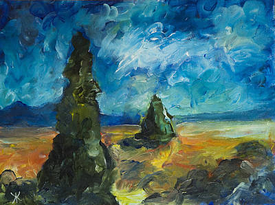 Original featuring the painting Emerald Spires by Yulia Kazansky