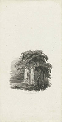 Dilapidated Drawing - Landscape With Dilapidated Monument In A Pond by Henricus Wilhelmus Couwenberg