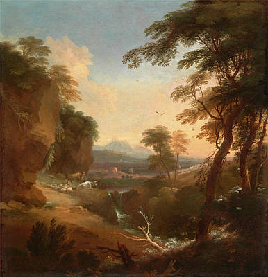 Landscape With Distant Mountains Signed In Ocher Paint Art Print by Litz Collection