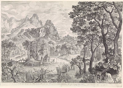 Waterfowl Drawing - Landscape With Duck Hunting, Nicolaes De Bruyn by Nicolaes De Bruyn