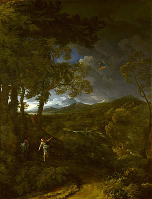 Painting - Landscape With Elijah And The Angel by Gaspard Dughet