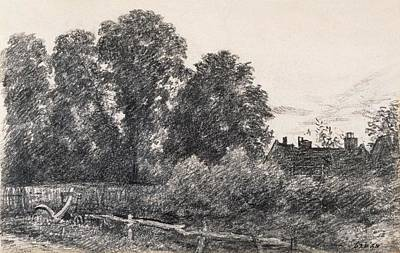 Landscape Drawing - Landscape With Elm Tress And A House by John Constable