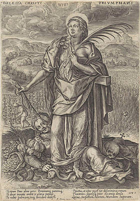 Grapevines Drawing - Landscape With Faith, Behind Her The Cross by Johannes Wierix