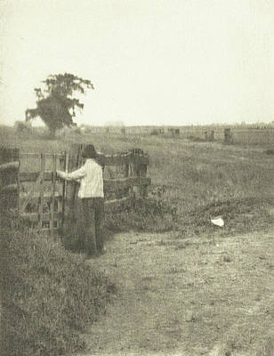 Fence Drawing - Landscape With Farmer And Fence, Peter Henry Emerson by Artokoloro