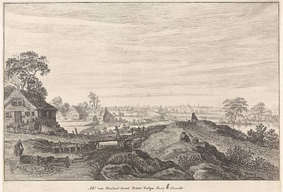 Angling Drawing - Landscape With Farms, Pieter Nolpe by Pieter Nolpe And Claes Jansz. Visscher (ii)