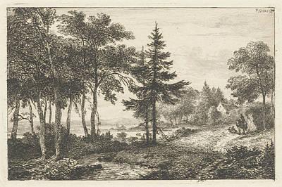 Fir Trees Drawing - Landscape With Fir Tree And Horseman. Print Maker Pieter by Artokoloro
