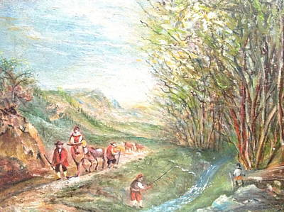 Art Print featuring the painting Landscape With Fisherman by Egidio Graziani