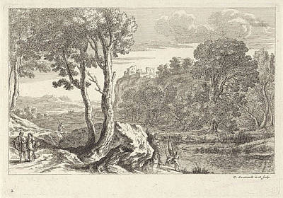 Angling Drawing - Landscape With Fishermen, Claude Goyrand by Claude Goyrand And Herman Van Swanevelt And Herman Van Swanevelt