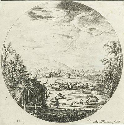Herding Dog Drawing - Landscape With Flock Of Sheep, Albert Flamen by Albert Flamen