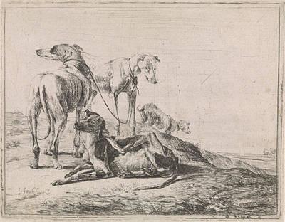 Landscape With Four Greyhounds, Jacob De Jonckheer Art Print