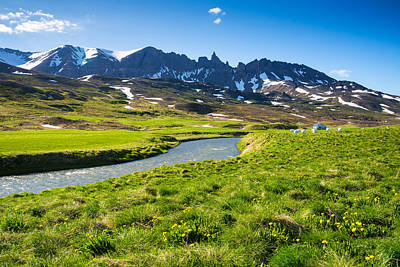Photograph - Landscape With Green Meadow River And Mountains In North Iceland by Matthias Hauser