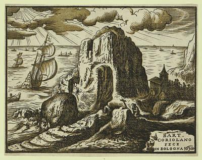 Prayer Drawing - Landscape With Hermit Or Saint In Prayer by Coriolano, Bartolomeo (c.1599-c.1676), Italian