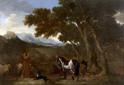 Painting - Landscape With Hermit Preaching To Animals by Gaspard Dughet