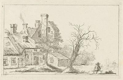 Ligne Drawing - Landscape With Houses, Charles Joseph Emmanuel De Ligne by Charles Joseph Emmanuel De Ligne