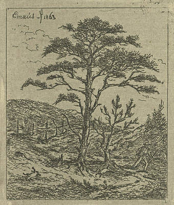 Pine Trees Drawing - Landscape With Hunter, Print Maker Gerardus Emaus De Micault by Gerardus Emaus De Micault