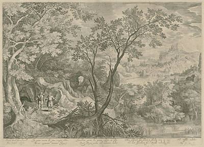 Tears Drawing - Landscape With Jeroboam And The Prophet Ahijah by Claes Jansz. Visscher (ii)
