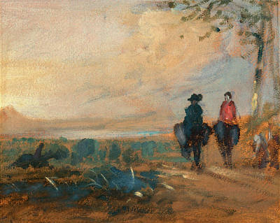 Landscape With Lake And Two Figures Riding Landscape Art Print by Litz Collection